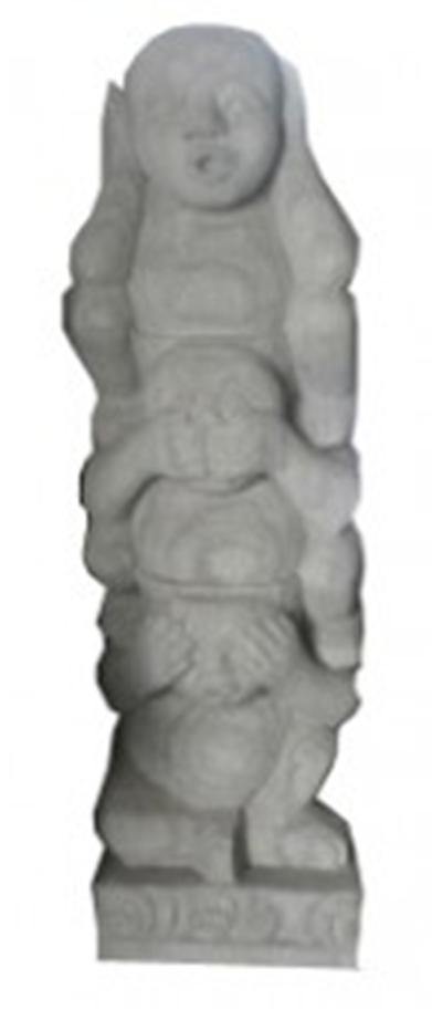 Bali 3 Monkeys Statue (Stone - Grey)