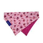 Pink Bone Dog Collar Scarf, Reversible and Two-Tone