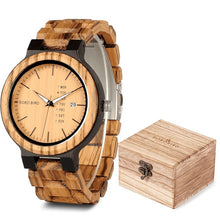 Charger l'image dans la galerie, relogio Masculino BOBO BIRD Wood Watch Men Wristwatches Quartz Movement Calendar Week Display in Gift Box erkek kol saati