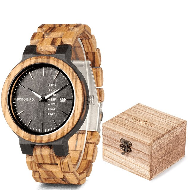 relogio Masculino BOBO BIRD Wood Watch Men Wristwatches Quartz Movement Calendar Week Display in Gift Box erkek kol saati