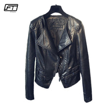 Charger l'image dans la galerie, Fitaylor Spring Autumn Ladies Motorcycle Leather Jackets Women Turn-down Collar Zipper Slim Black Moto & Biker Jacket Female