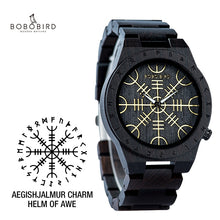 Charger l'image dans la galerie, Handmade BOBO BIRD Wooden Watches Man Women Runic Circle Watch with Golden Helm of Awe or Vegvisir Quartz Wristwatch Male