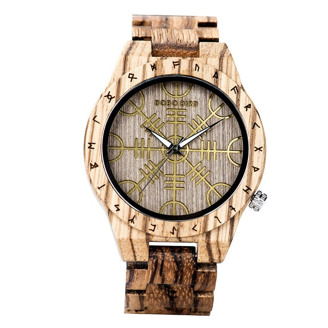 Handmade BOBO BIRD Wooden Watches Man Women Runic Circle Watch with Golden Helm of Awe or Vegvisir Quartz Wristwatch Male