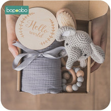 Charger l'image dans la galerie, Bopoobo 1Set Bath Toys Set Kid Swaddle Wrap Baby Milestones Brush Rattle Bracelet Bibs Photography Supplies Birth Gift Product