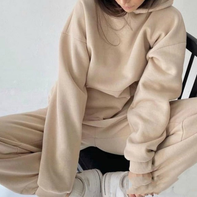 Women Elegant Solid Sets For Women Warm Hoodie Sweatshirts And Long Pant Fashion Two Piece Sets Ladies Lace Up Sweatshirt Suits
