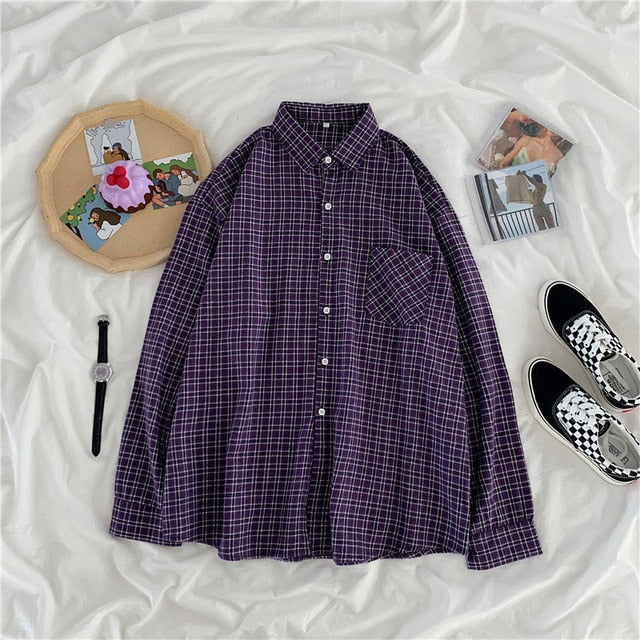 Women Shirt Plaid Oversize 3XL Turn-down Collar Leisure Fashion Loose All-match Womens Long Sleeves Soft Chic Korean Style Tops