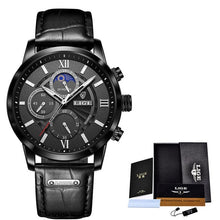 Charger l'image dans la galerie, 2021 New Mens Watches LIGE Top Brand Leather Chronograph Waterproof Sport Automatic Date Quartz Watch For Men Relogio Masculino