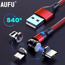 Charger l'image dans la galerie, AUFU 540 Degrees Rotating Magnetic Cable Micro USB Type C Phone Cable For iPhone11 Pro XS Max Samsung Xiaomi USB Cord Wire Cable