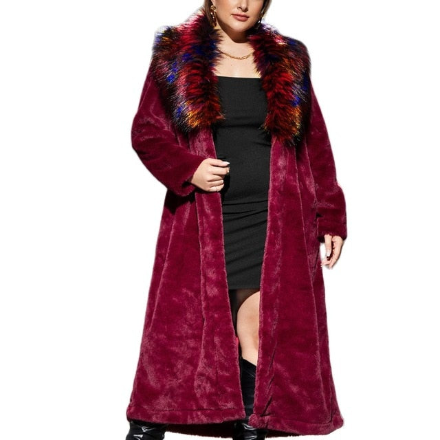 Women's high quality artificial rabbit fur coat in winter luxury long fur coat loose spell magic color fox Lapel coat thick warm