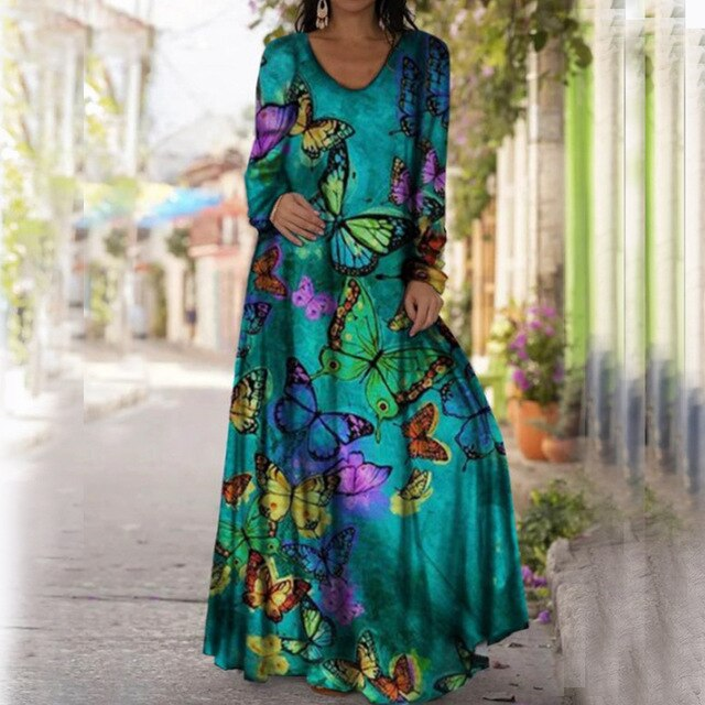 Women Long Dress 2021 3D Star Printed Casual Loose  Beach Party Dress Plus Size Tie Dye  O Neck Maxi Dress Female Vestidos