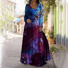 Charger l'image dans la galerie, Women Long Dress 2021 3D Star Printed Casual Loose  Beach Party Dress Plus Size Tie Dye  O Neck Maxi Dress Female Vestidos