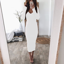 Charger l'image dans la galerie, Fashion Maxi Dresses for Women 2021 New Women's Summer Sundresses Sexy Backless Off Shoulder Dress Long Sleeve Ribbed Knit Dress