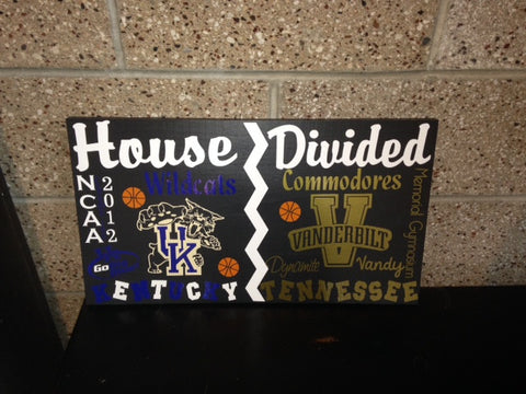 House Divided College Basketball Sign Kentucky vs Vanderbilt