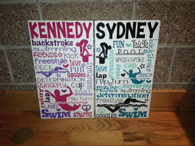Personalized Wooden Swim Teen Tween Sign