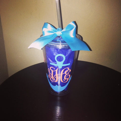 Personalized Girly Monogram Anchor Tumbler