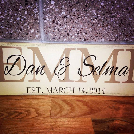 Personalized Wooden Wedding Date Anniversary Sign