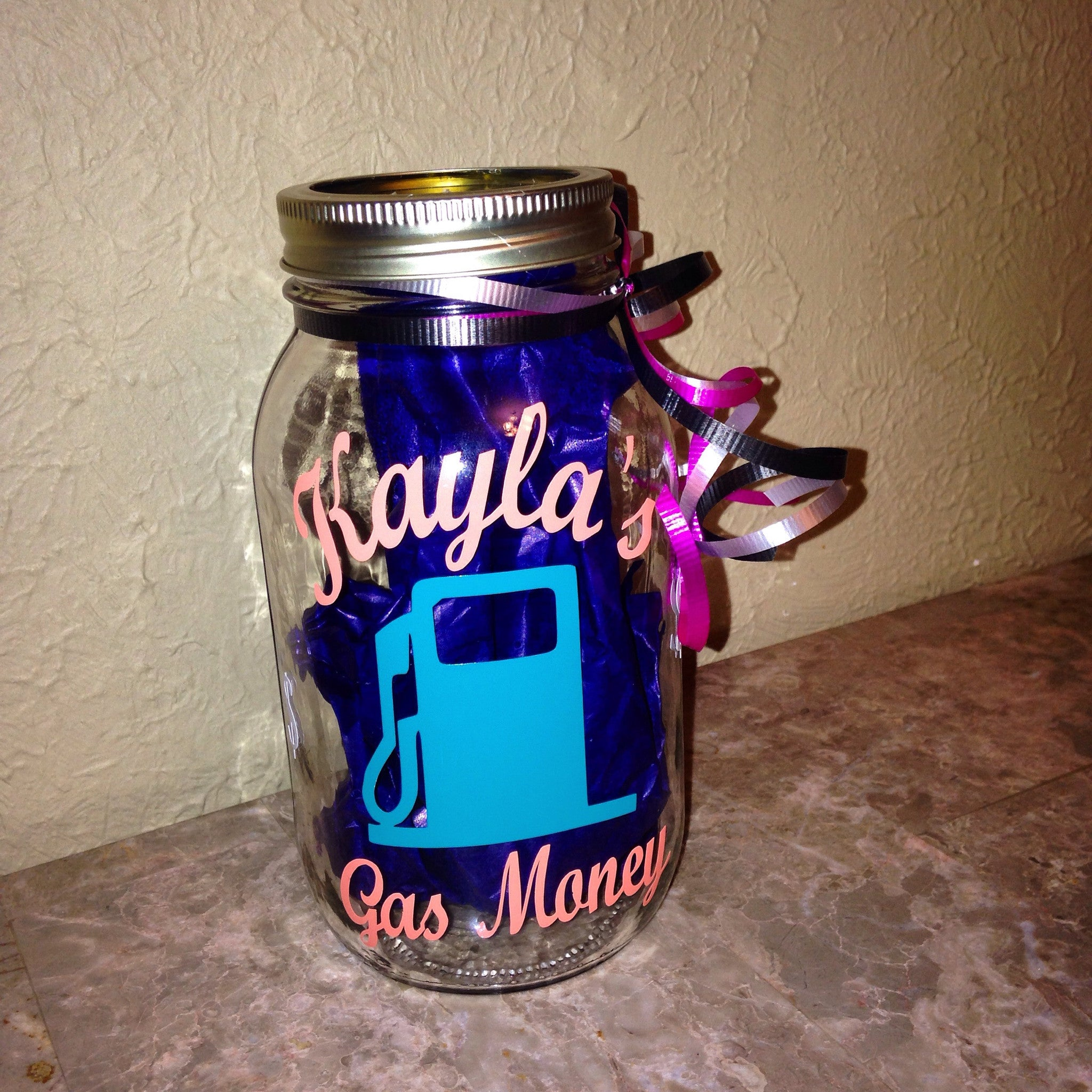 Personalized Gas Fund Money Jar Sweet Sixteen