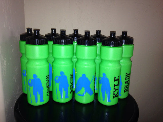 Personalized Hockey Water Bottles Party