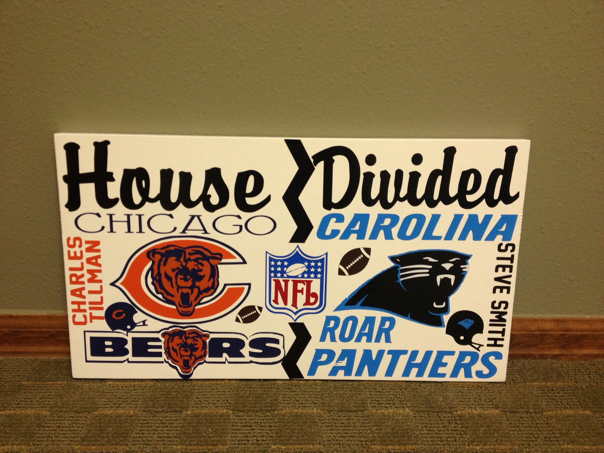 House Divided NFL Team Wall Sign Bears vs Panthers