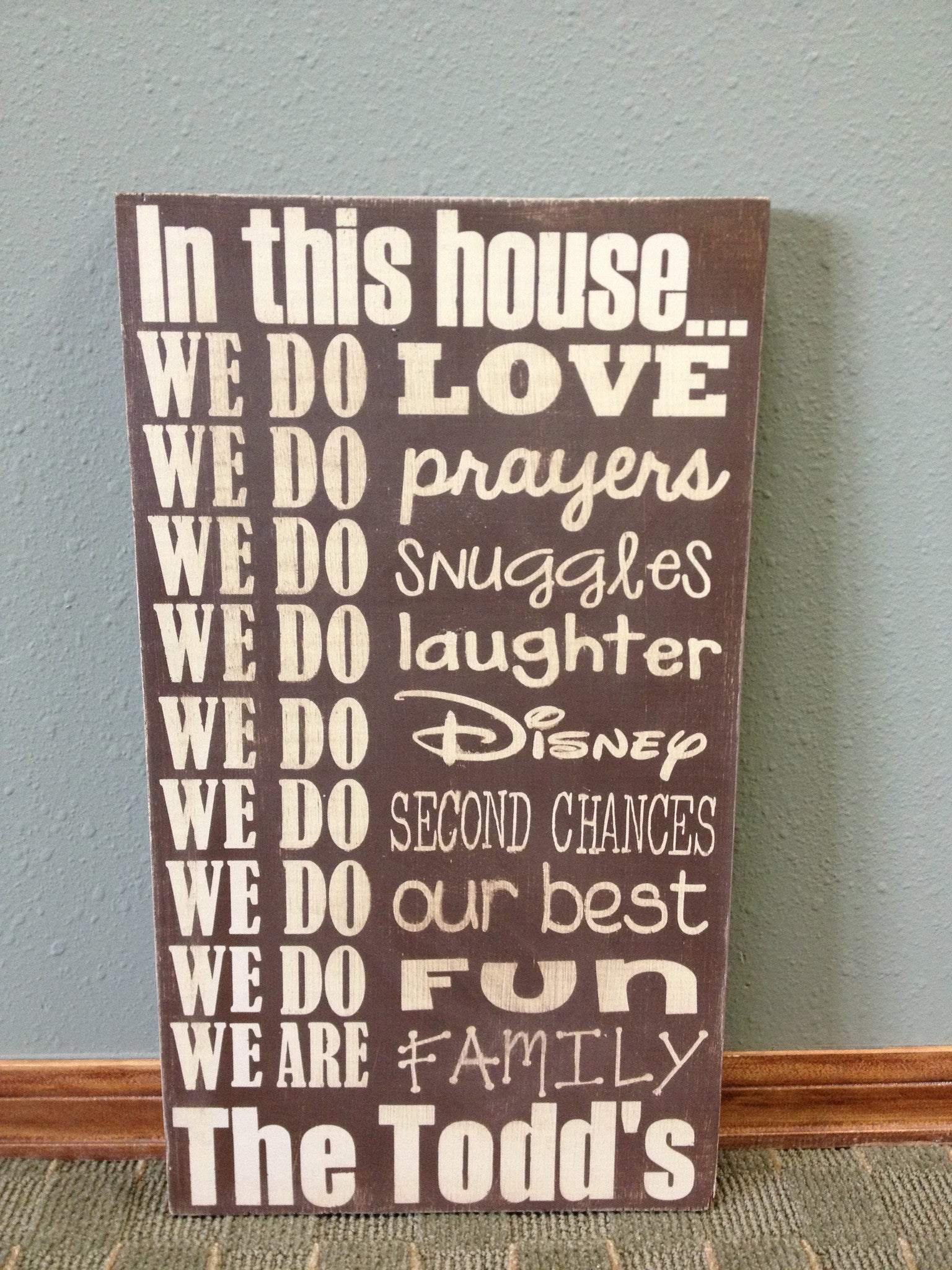 Personalized Wooden Sign House Rules