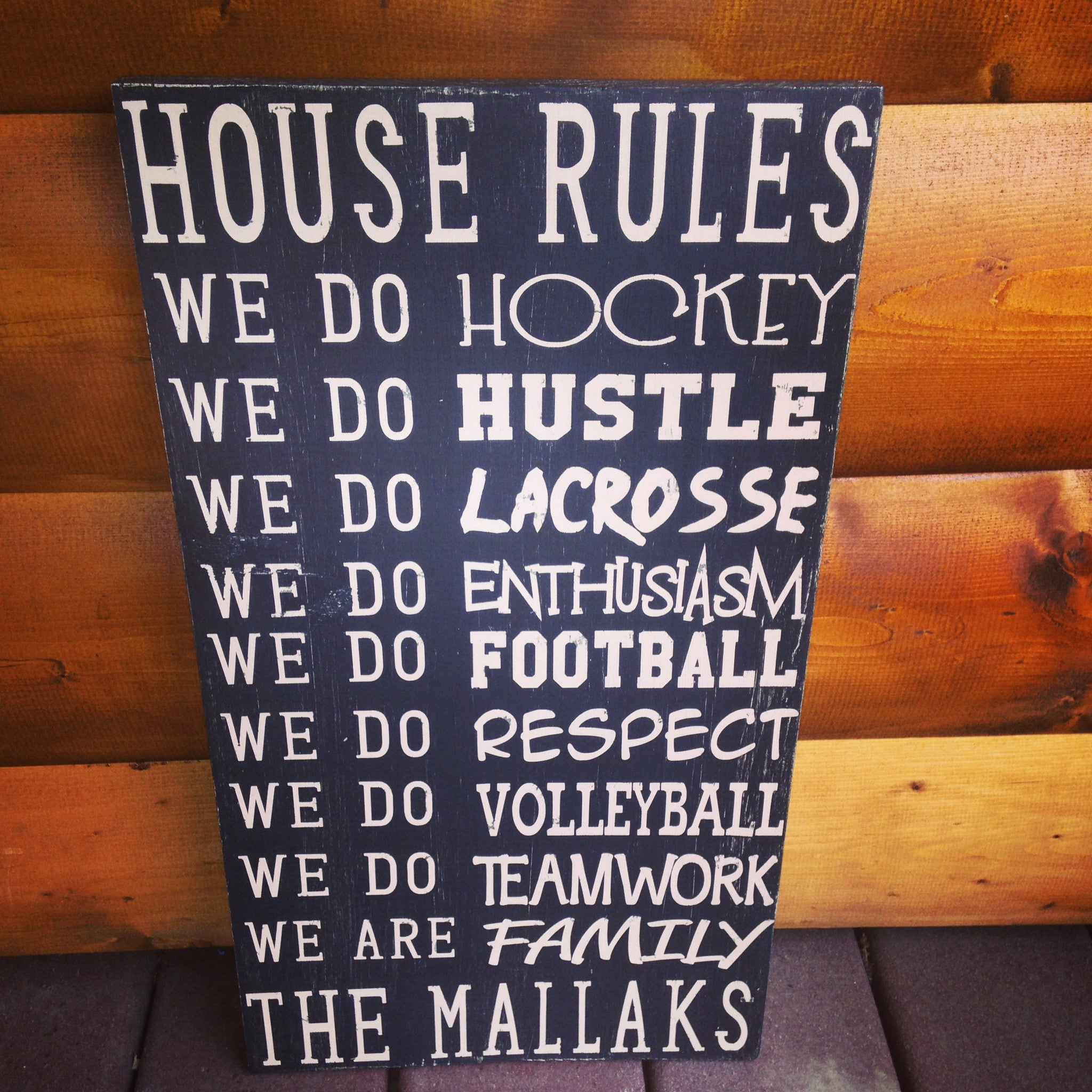 Personalized Wooden Sports House Rules Sign