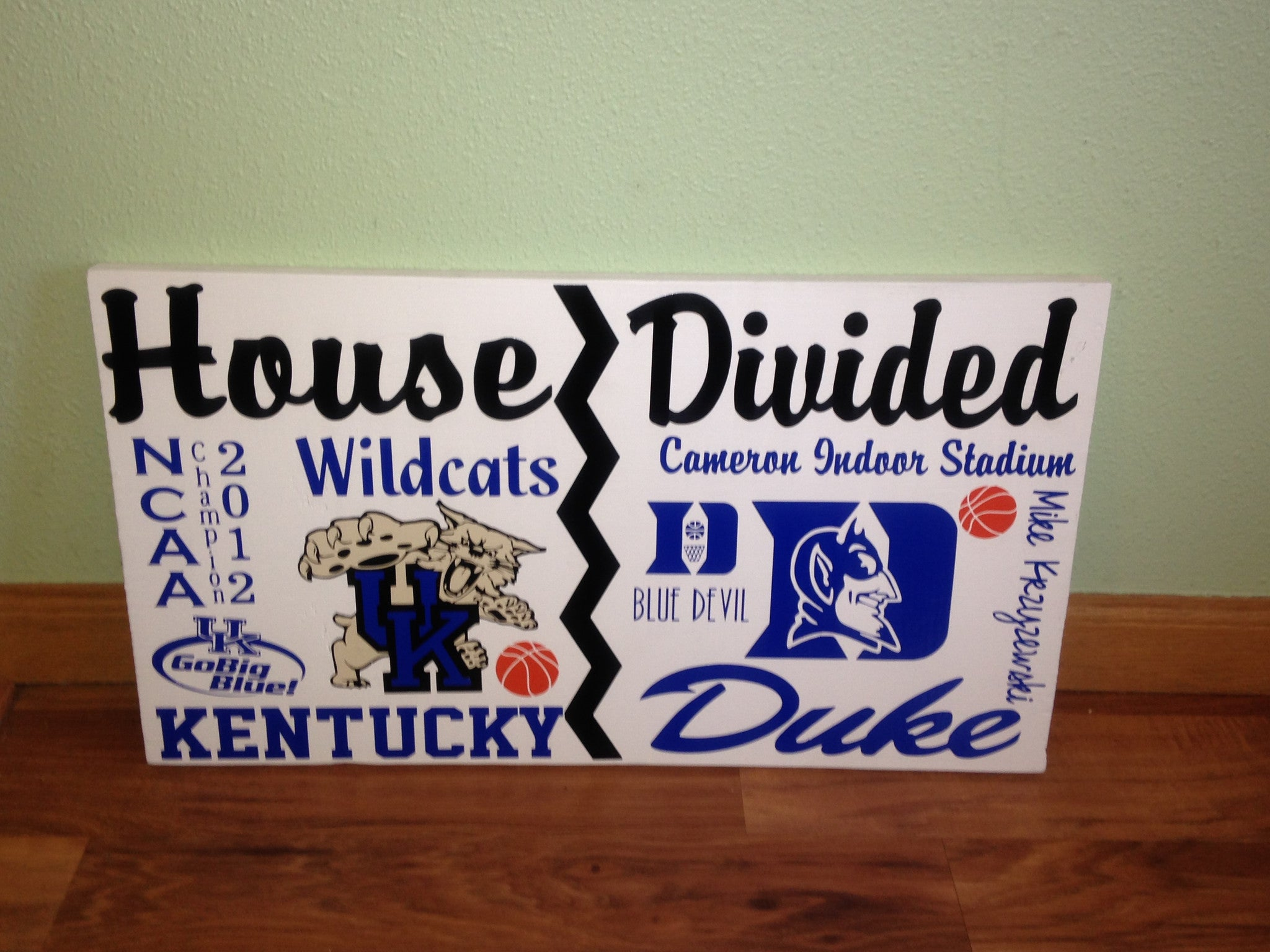 House Divided College Basketball Sign Kentucky vs Duke