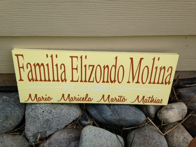 Personalized Family Anniversary Sign Housewarming Spanish