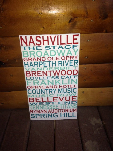 Personalized Wooden Nashville City Sign 12x20""