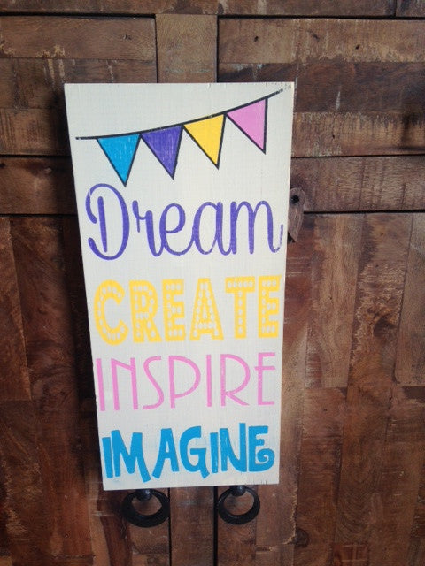 Rustic Distressed Wooden Craft Art Room Dream Create Inspire Sign