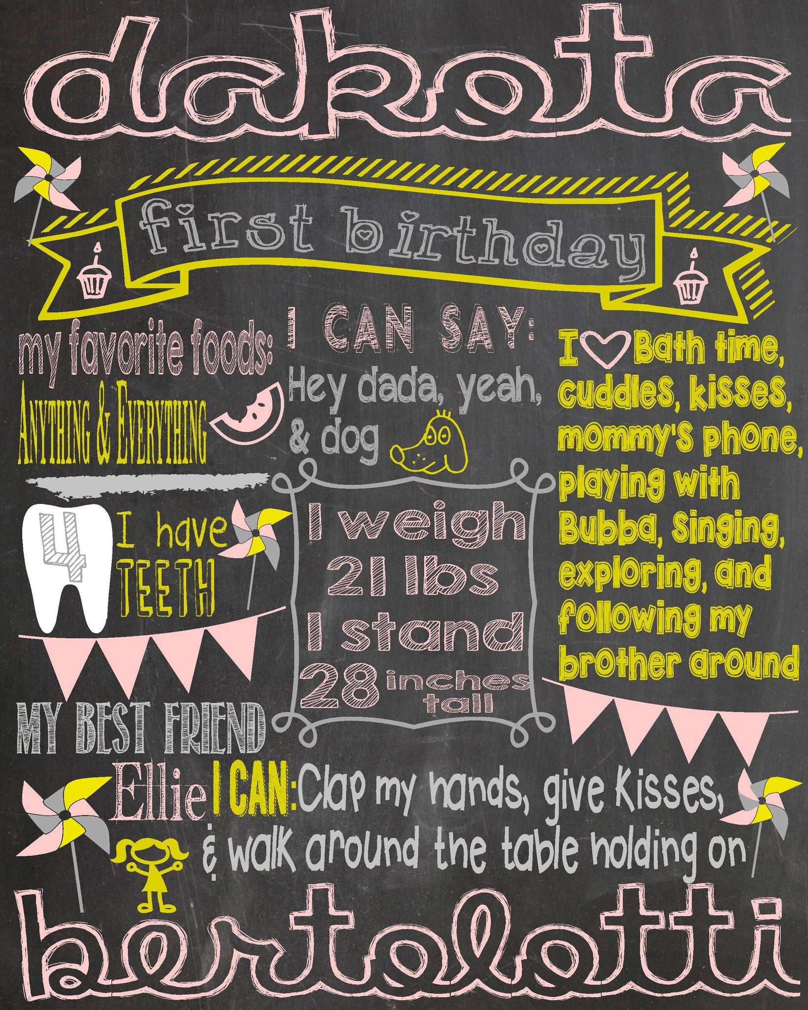 Digital File Chalkboard Birthday Print