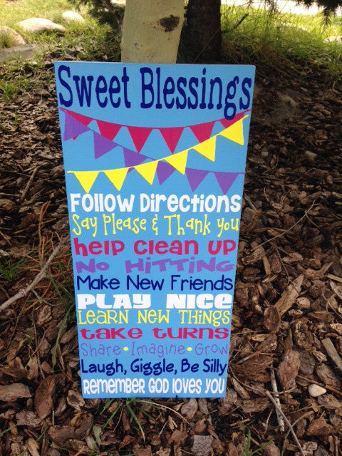 Personalized Wooden Daycare Rules Sign 10x20""