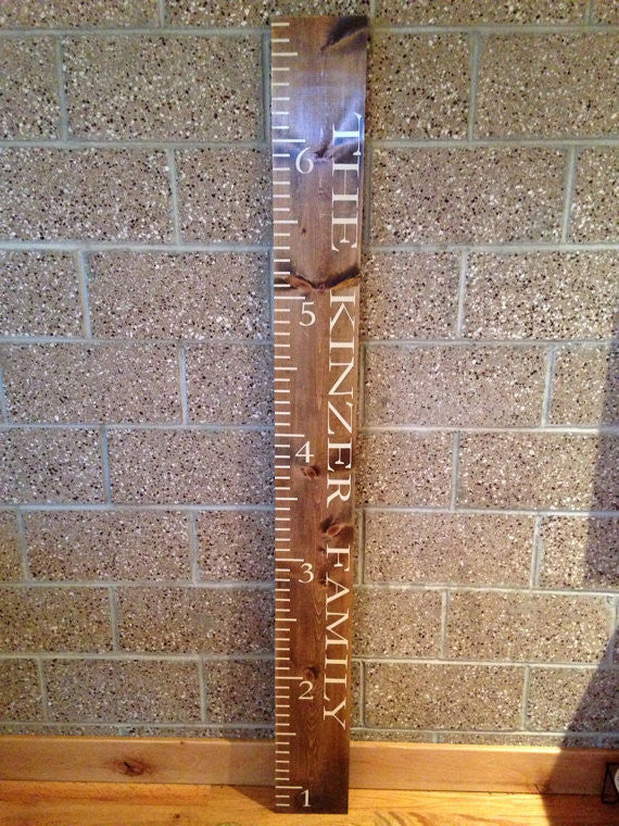 "Personalized Wooden Growth Chart Ruler 7""x72"""