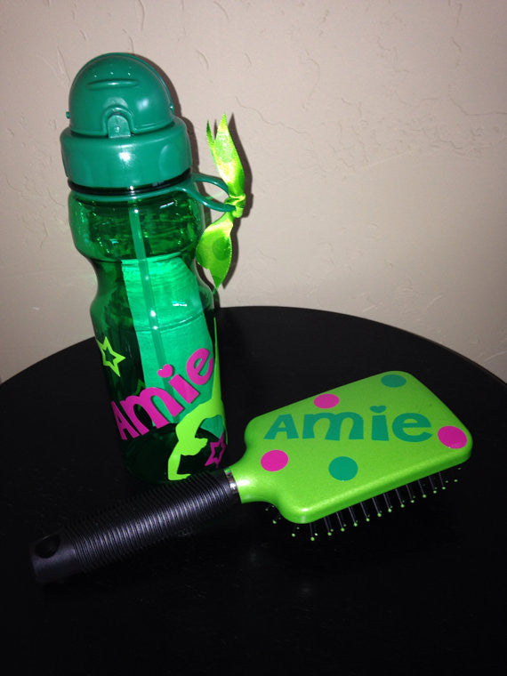 Monogrammed Personalized Hairbrush and Water Bottle Combo Pack- Gymnast