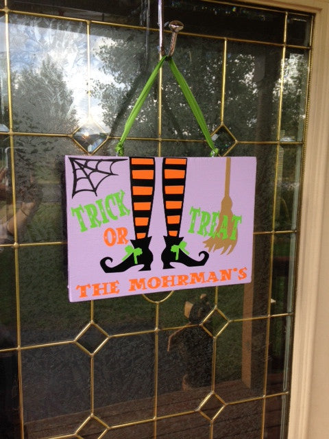 Personalized Family Wooden Halloween trick or Treat Door Sign