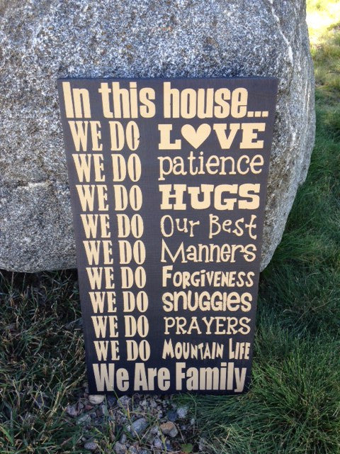 Personalized Wooden Sign Family House Rules- Mountains
