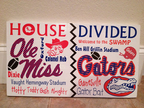 House Divided College Team Wall Sign