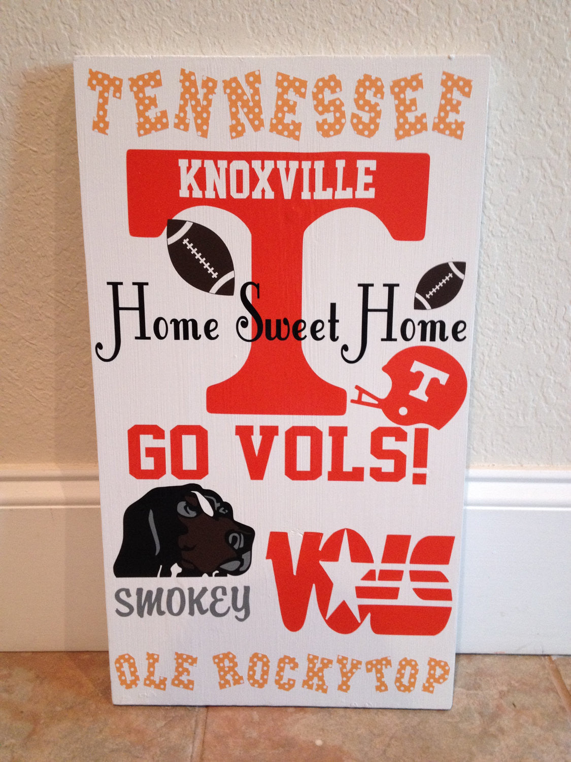 Wooden College Sports Team Wall Sign Tennessee