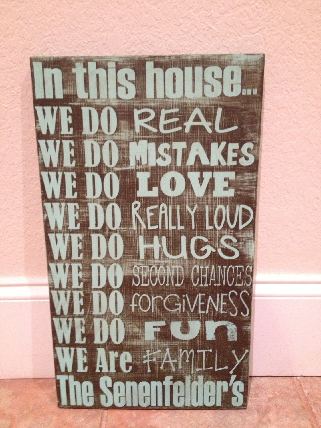 Personalized Wooden Sign Family House Rules