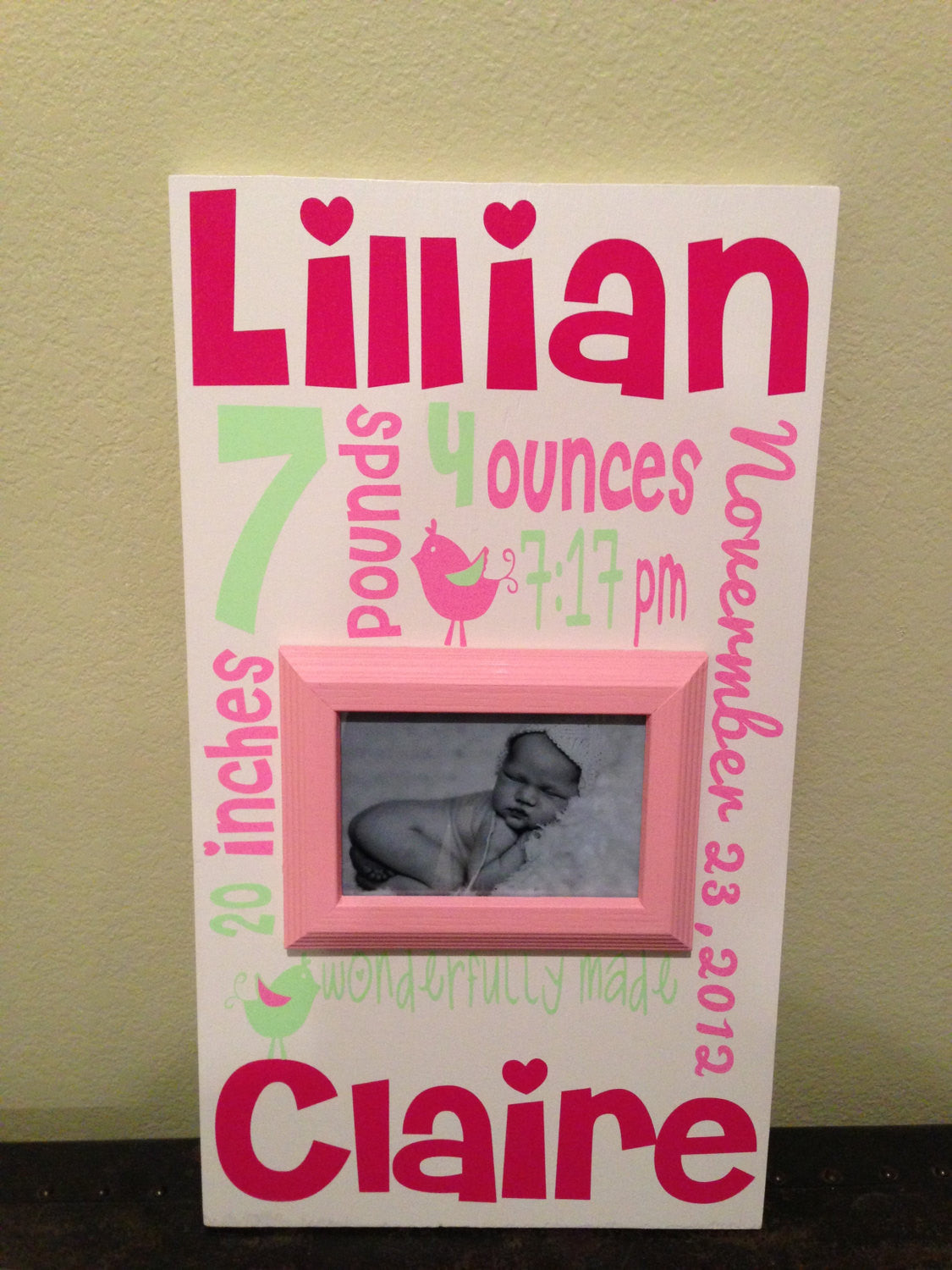 Baby Girl Birds Birth Announcement sign