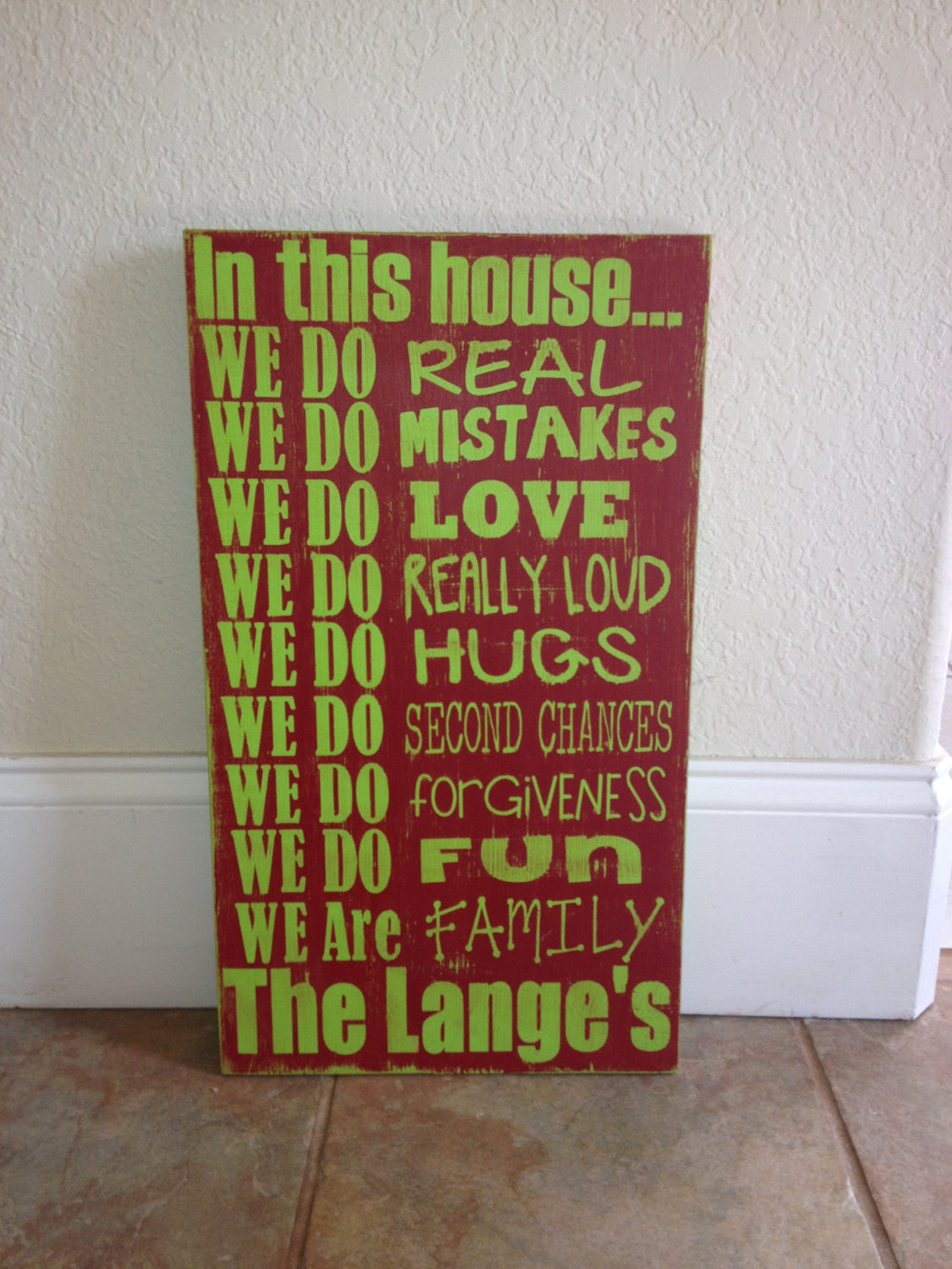 Personalized Wooden Distressed House Rules Sign