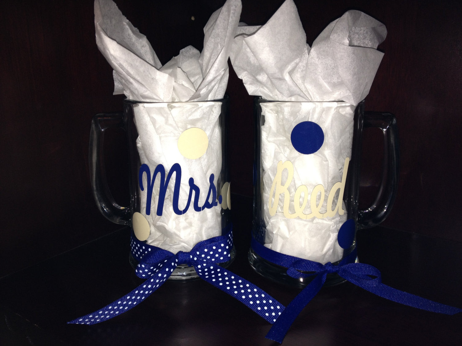 Personalized Mr & Mrs Wedding Beer Mugs