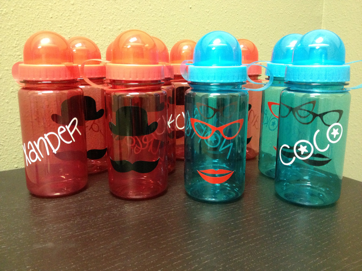 Personalized Kid's Water Bottles Mustache Party