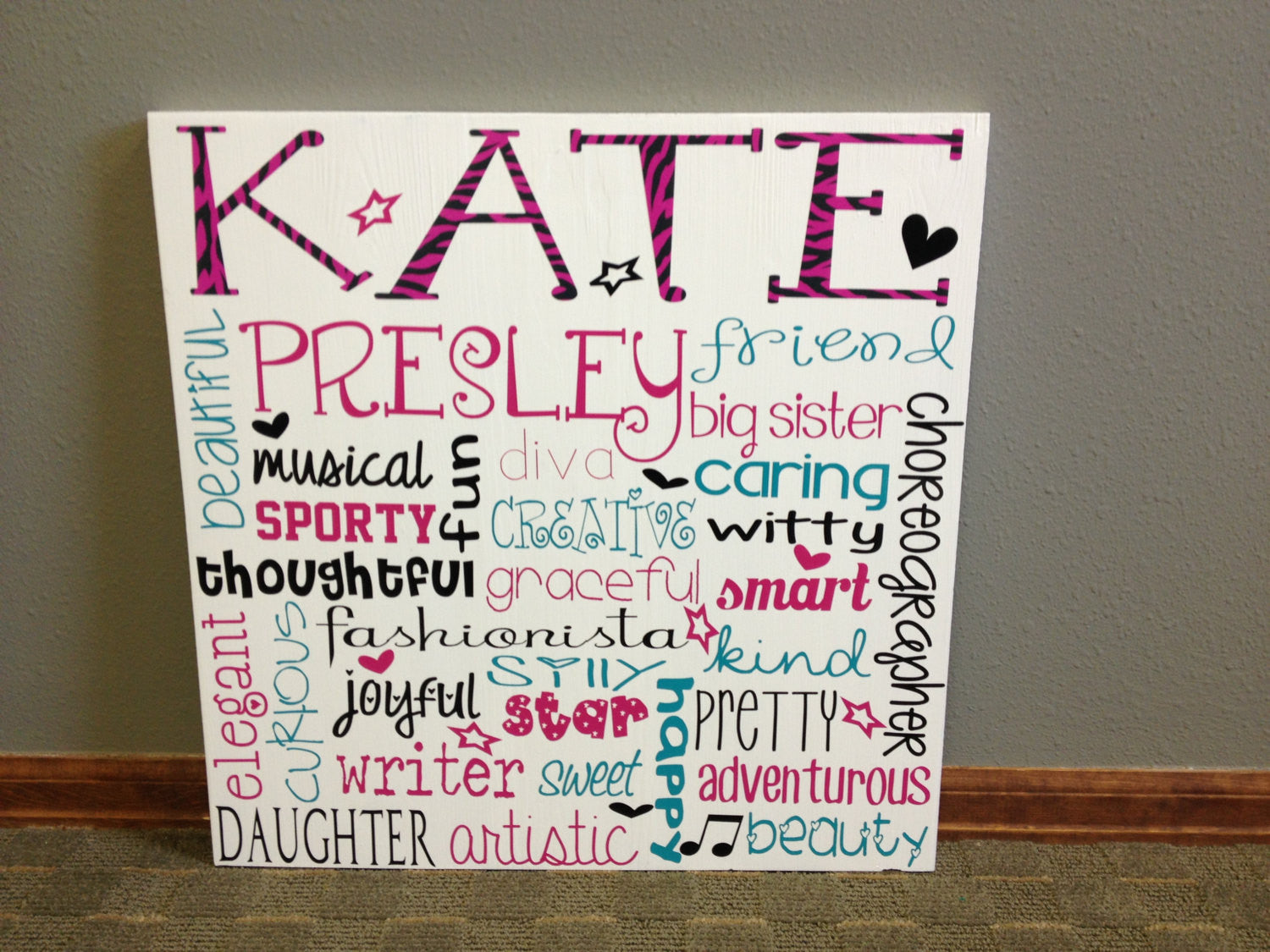 Personalized wooden Personality Teen Subway Art 20x20