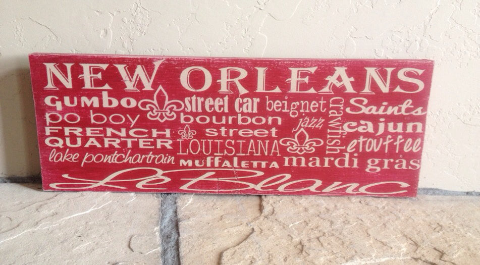 Personalized Wooden Distressed New Orleans City Sign