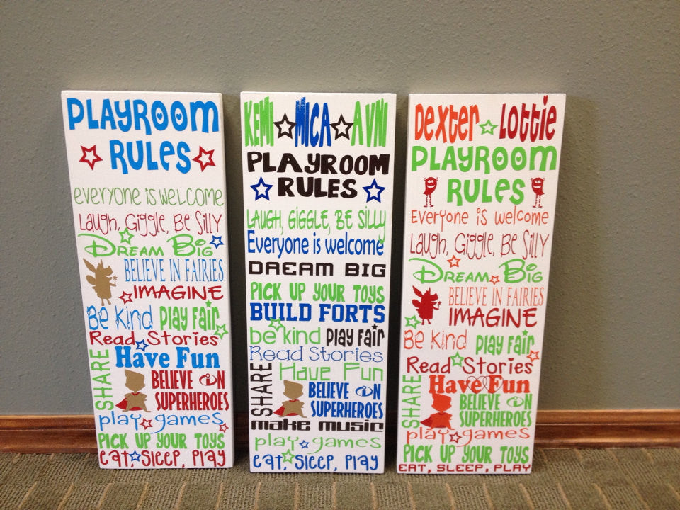 Personalized Wooden Playroom Rules Sign Subway Art