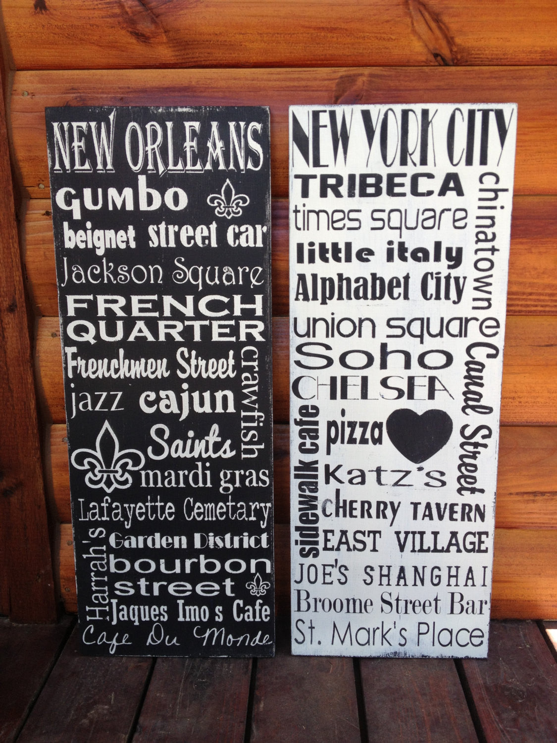 Personalized Wooden Distressed City Sign New York