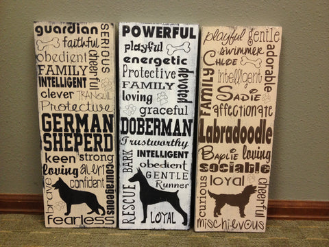 Distressed Wooden Dog Lover Sign Any Breed