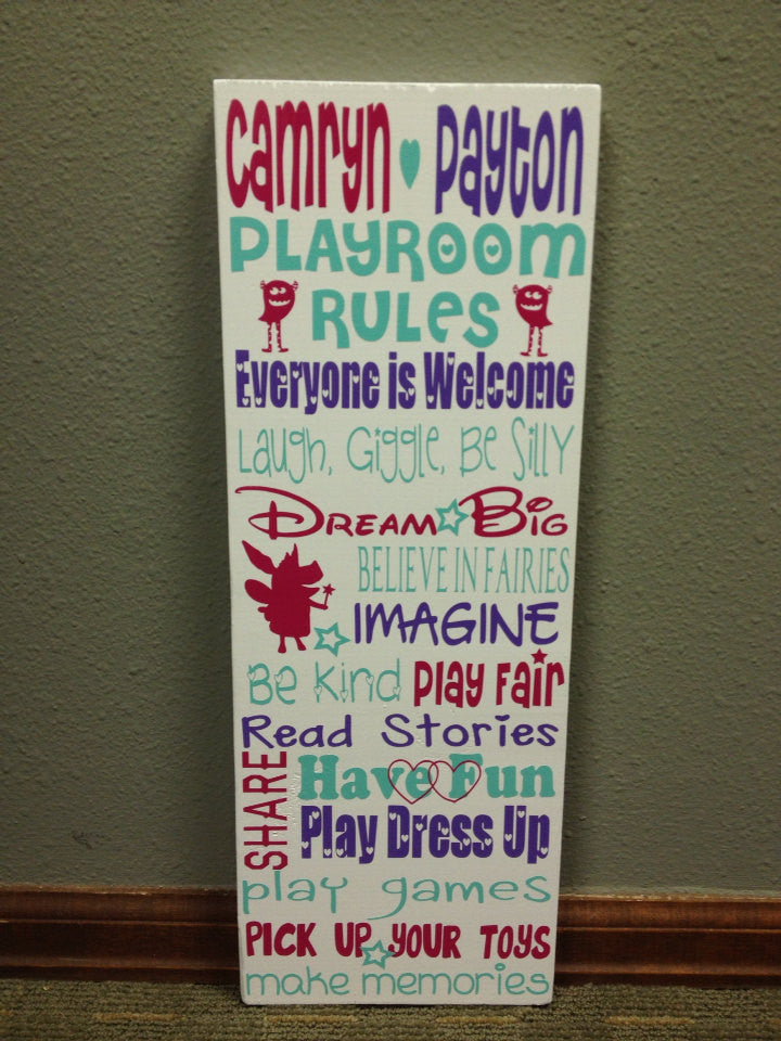 Personalized Wooden Girls Playroom Rules Sign Subway Art