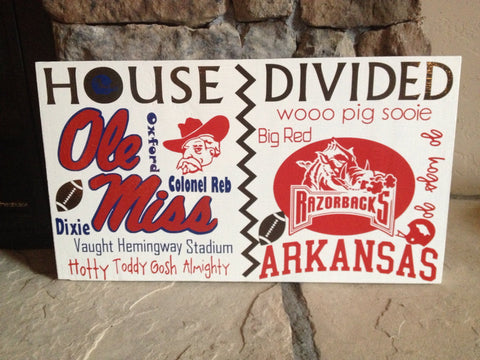 House Divided College Team Wall Sign Arkansas Ole Miss