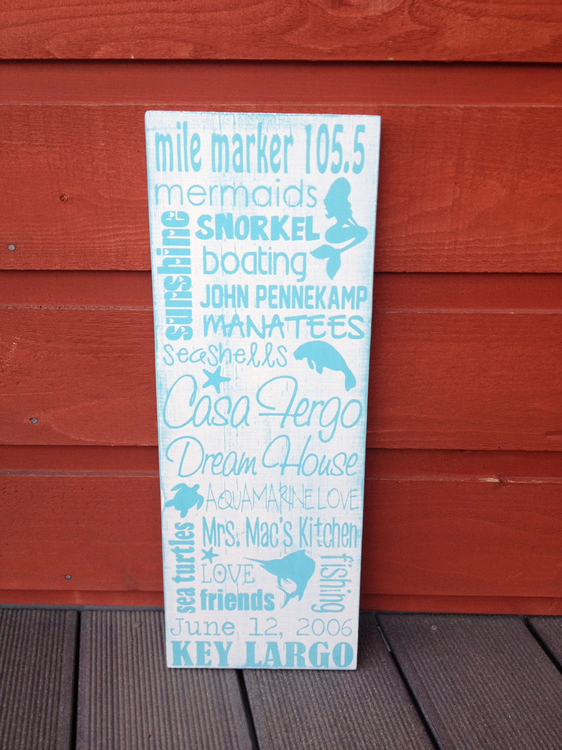 Personalized Distressed Wooden Key Largo Beach City Sign